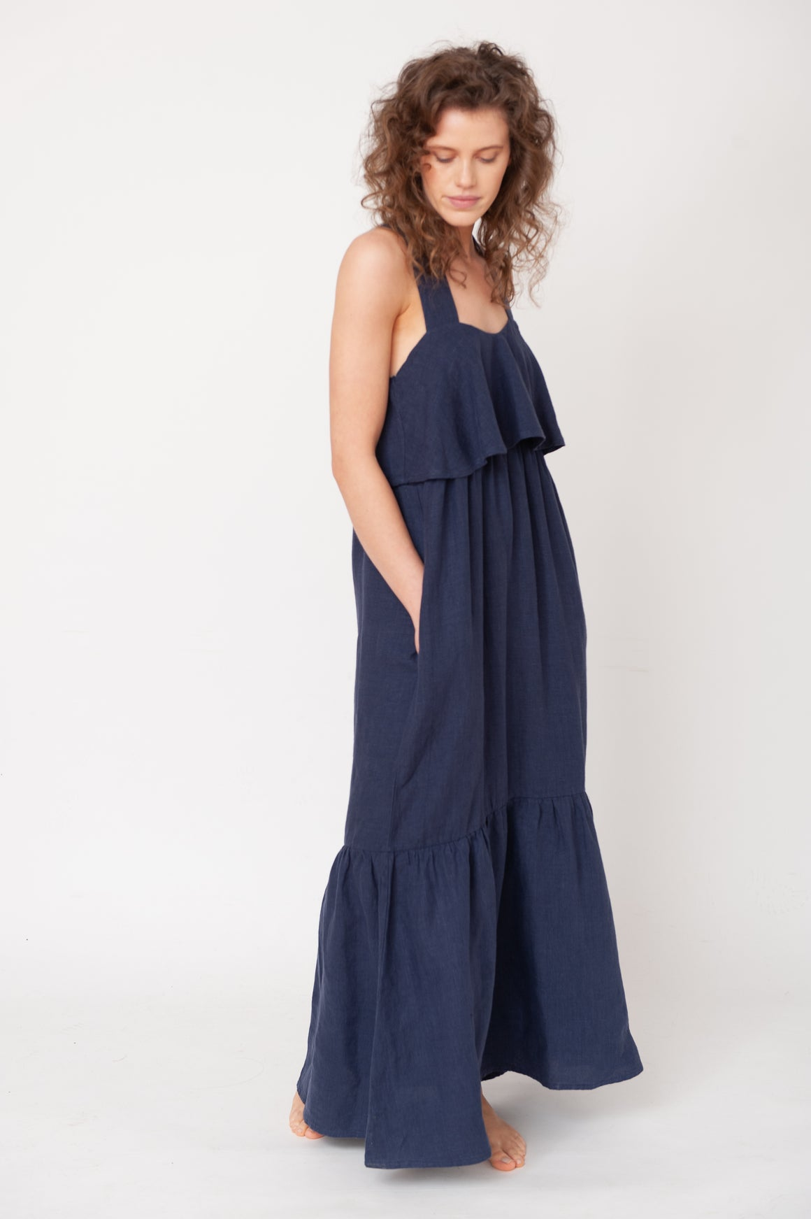 Arya-May Linen Dress - Midnight