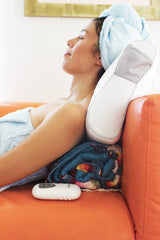 Inspired Home Dana wearing bath wrap and hair turban on memory foam pillow