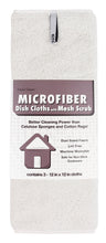 Microfiber Dish Cloths with Mesh Scrub, 3 Pack, White