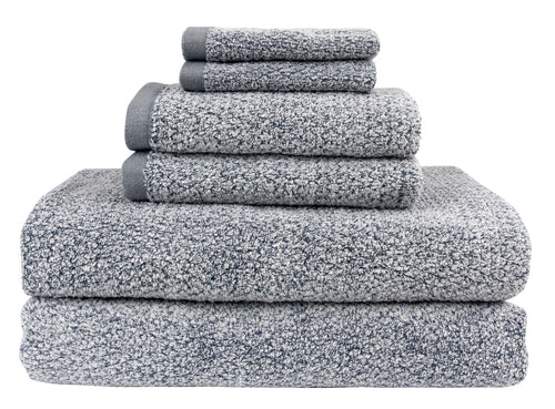 Diamond Jacquard 6 Piece Bath Sheet Towel Set, Dusk (Grey Blue)