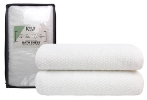 Diamond Jacquard Towels Bath Sheet - 2 Pack, White
