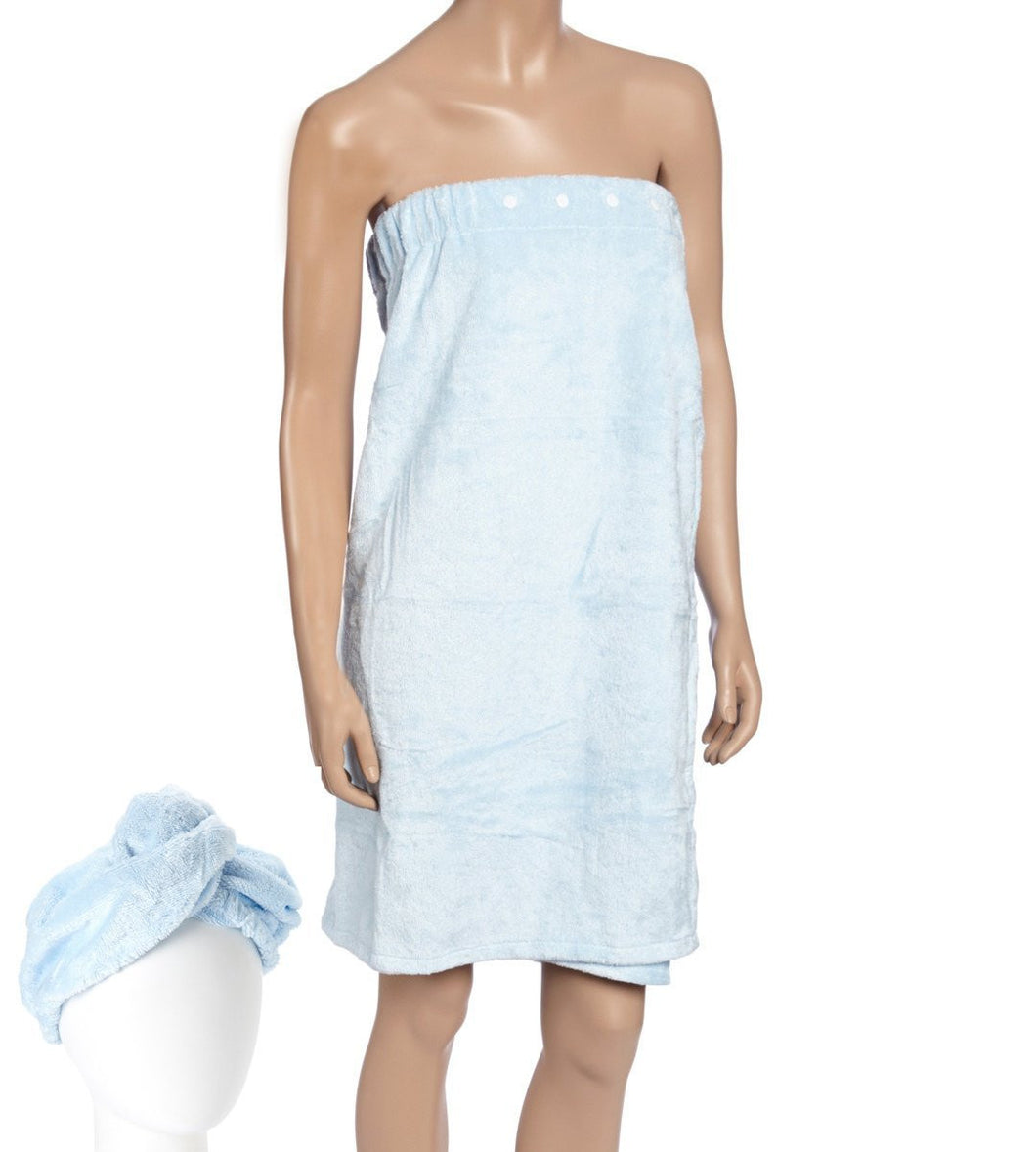 Spa Bath Robe set with Turban Blue