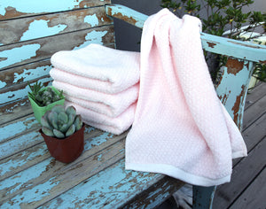 Diamond Jacquard Towels, Hand Towels - 4 Pack, Pale Pink
