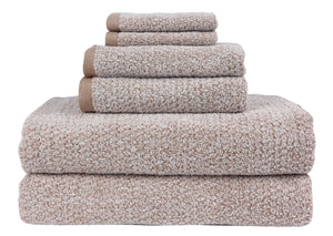 Diamond Jacquard Towels, 6 Piece Bath Sheet Towel Set, Khaki (Light Brown) Recycled