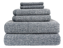 Diamond Jacquard Towels 6 Piece Bath Towel Set, Dusk (Grey Blue)