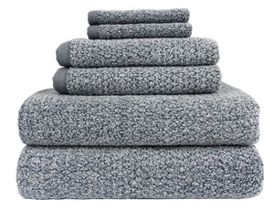 Diamond Jacquard Towels 6 Piece Bath Towel Set, Dusk (Grey Blue) Recycled