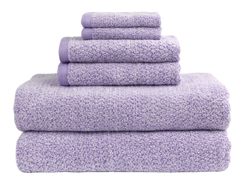 Diamond Jacquard 6 Piece Bath Sheet Towel Set, Lavender