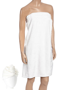 Spa Bath Robe set with Turban White
