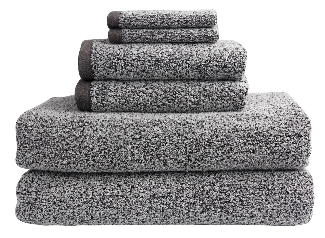 Diamond Jacquard 6 Piece Bath Sheet Towel Set, Grey