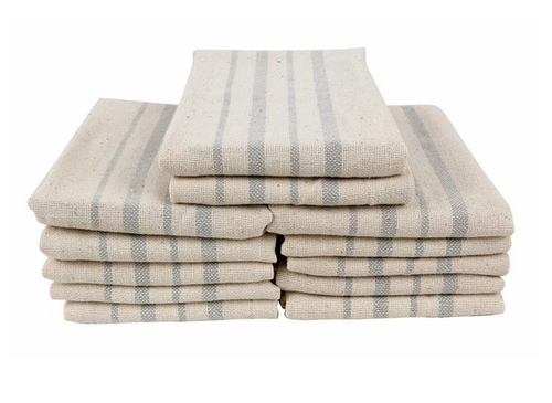 Recycled Cotton Kitchen Towels, Fog, 12 Pack
