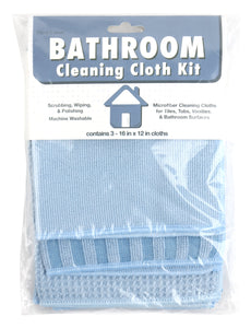 Bathroom Microfiber Cleaning Cloth Kit, 3 Pack