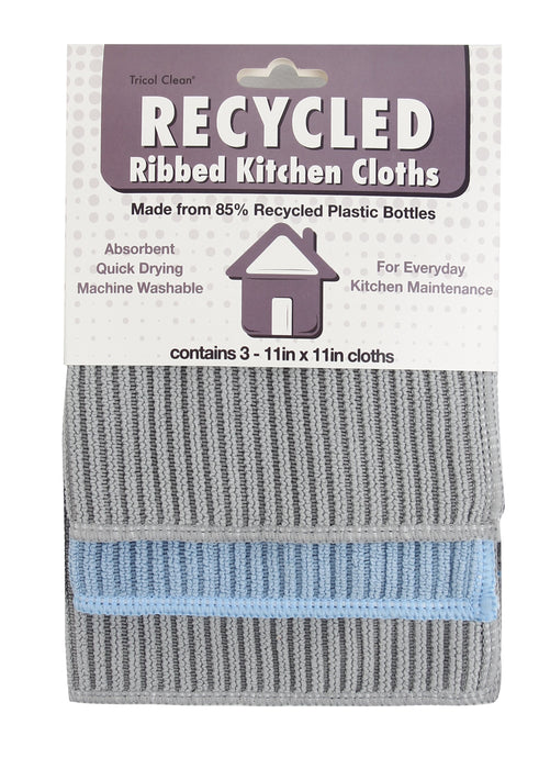 Recycled Microfiber Kitchen Cleaning Cloths, 3 Pack