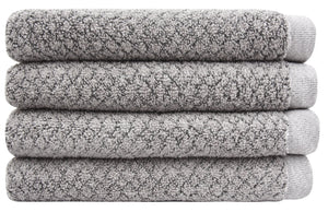Chip Dye Diamond Jacquard Hand Towels - 4 Pack, Granite