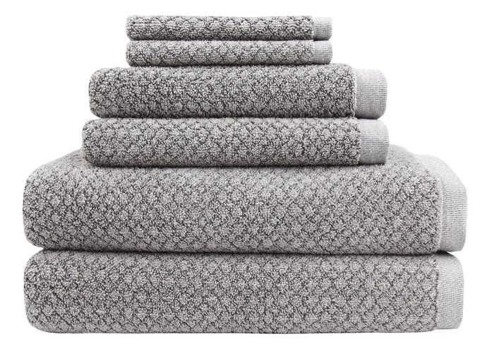 Chip Dye Diamond Jacquard 6 Piece Bath Towel Set, Granite