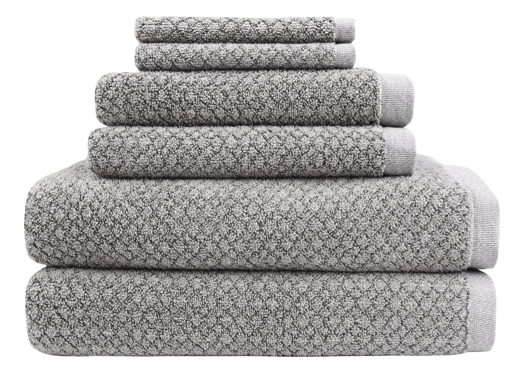 Chip Dye Towels - 6 Piece Bath Towel Set, Granite