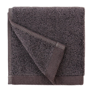 Flat Loop Washcloths - 6 Pack, Charcoal (Dark Grey)