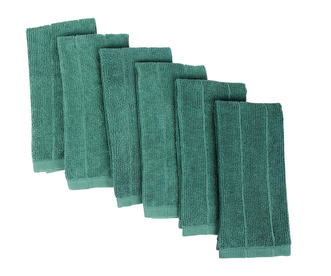 Everplush Rayon Windowpane Kitchen and Dish Towels, 6 Pack, Green