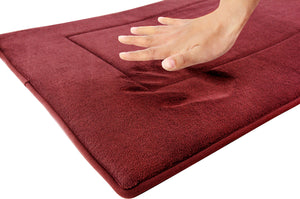 Memory Foam Solid Runner in Marsala Red, 2 x 5 ft