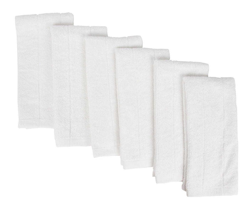 Everplush Rayon Windowpane Kitchen and Dish Towels, 6 Pack, Porcelain (White)