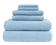Diamond Jacquard Towels 6 Piece Bath Towel Set, Aquamarine