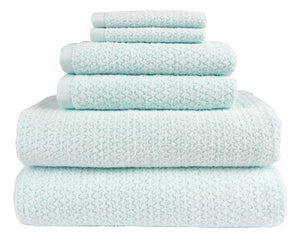 Diamond Jacquard Towels 6 Piece Bath Towel Set, Spearmint