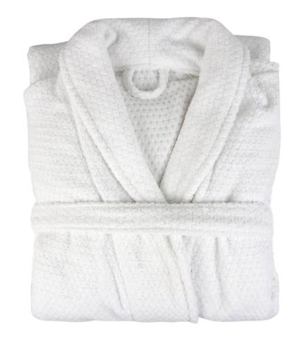 Diamond Jacquard Bathrobe, XL-XXL, White