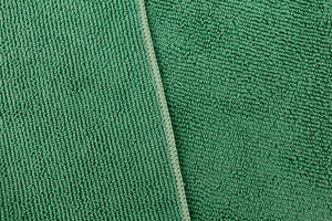Commercial Grade Microfiber Cleaning Cloths, 12 Pack - Green for Kitchens & Food Service Environments