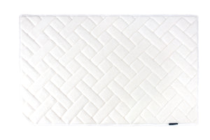 Memory Foam Herringbone Accent Rug in White, 21 x 34 in