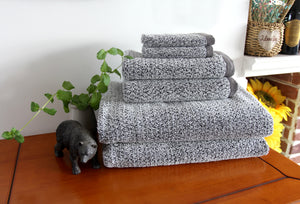 Diamond Jacquard Towels 6 Piece Bath Towel Set, Grey Recycled