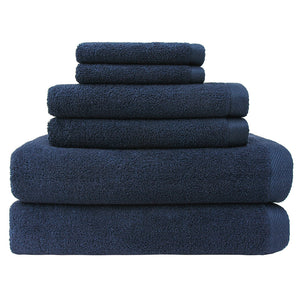 Flat Loop 6 Piece Bath Towel Set, Navy Blue
