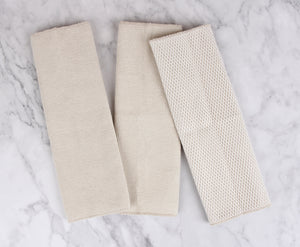 Extra Strength Dish Cloths with Mesh Scrub, 3 Pack, Khaki