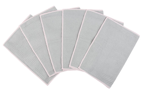 Waffle Kitchen Towels, 6 Pack, Grey
