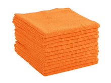 Commercial Grade Microfiber Cleaning Cloths, 12 Pack - Orange for Shop Towels