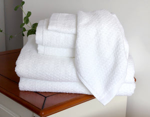 Diamond Jacquard Towels 6 Piece Bath Towel Set, White