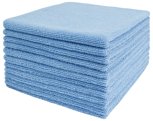 Commercial Grade Microfiber Cleaning Cloths, 12 Pack - Blue for Everyday Cleaning