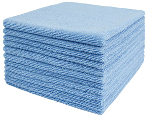 Commercial Grade Microfiber Cleaning Cloths, 12 Pack - Blue for General Purpose Cleaning