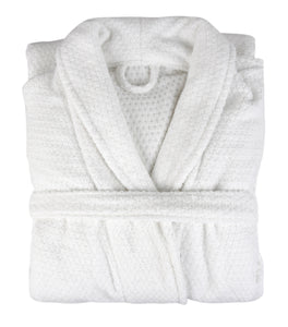 Diamond Jacquard Bathrobe, Medium-Large, White