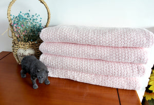 Diamond Jacquard Towels, Bath Sheet - 2 Pack, Pale Pink