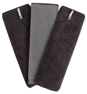 Microfiber Dish Cloths with Mesh Scrub, 3 Pack, Charcoal