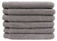 Flat Loop Washcloths - 6 Pack, Ash (Light Grey)