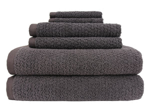 Diamond Jacquard Towels 6 Piece Bath Towel Set, Charcoal (Dark Grey)
