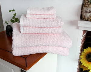 Diamond Jacquard Towels 6 Piece Bath Towel Set, Pale Pink