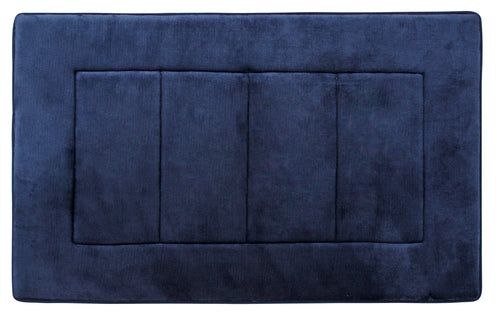 Activated Charcoal Memory Foam Bath Mat in Navy Blue, Large 21 x 34 in