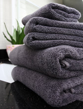 Flat Loop 6 Piece Dark Grey Bath Towel Sets, Charcoal