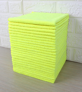 Commercial Grade Microfiber Cleaning Cloths, 12 Pack - Yellow for Polishing & Dusting