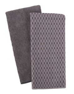Microfiber Tea Towels, Set of 2, Charcoal