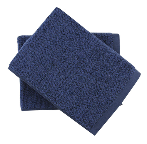 Diamond Jacquard Towels, Bath Towel - 2 Pack, Navy Blue