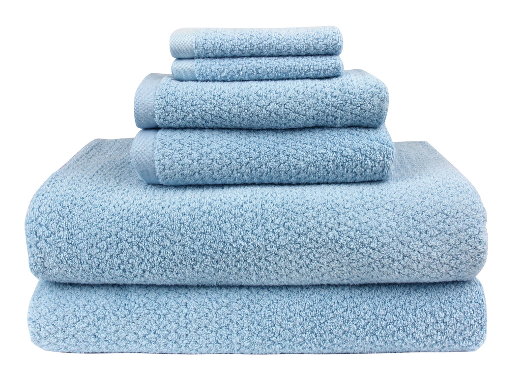 Diamond Jacquard Towels, 6 Piece Bath Sheet Towel Set, Aquamarine