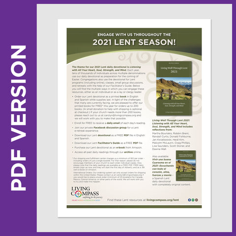 Living Well Through Lent 2021 Offerings Promotional Flyer (PDF FILE)