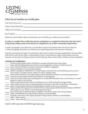 Community Wellness Advocate (CWA) Certification Application (PDF File)